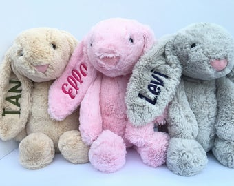 Personalized Bunny, personalized Easter bunny, embroidered Easter bunny, embroidered bunny