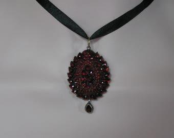 Huge Victorian Bohemian Garnet  Pendant-Medallion