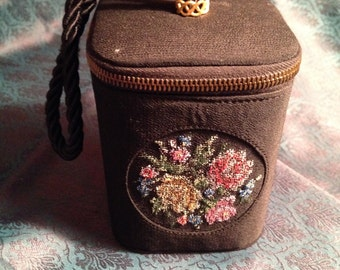 Vintage Black Box Purse Needlepoint Pink Yellow Flowers 1950s