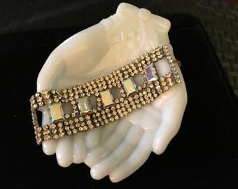"""Vintage Czech 1 3/4"""" Wide Aurora Glass Stones Bracelet Marked Bijoux M G ~ Super Sparkly"""