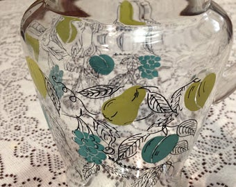 Vintage Turquoise/ yellow Fruit Water Pitcher