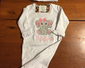 Applique Girly Elephant Coming Home Gown