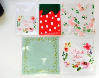 Strawberry cello bags, resealable cello bags, cookie packaging, gift wrapping,cellophane bags,lip & tape bags, treat bags,goodie mini bags