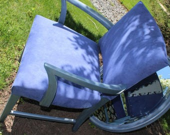 BLUE Desk Chair traditionally stuffed reupholstered