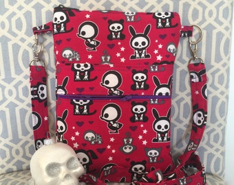 Cute and Dark Skelanimals Cross Body Sling Tote