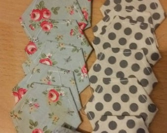 Cath Kidston floral +polka dot pre tacked hexie pack (16) (4cm each side )