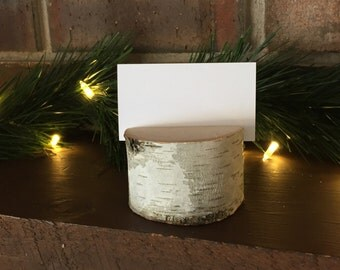 Round Birch Log Place Card Holders - Set of 5