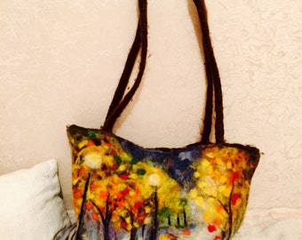 Felt bag, bag autumn, Felt hip-bag, Wool Felted Purse, Woman Felt Bag,Felt Hand Shoulder bag, European Art Design, Handmade