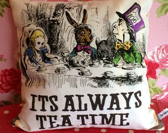 Alice, Mad Hatter and March Hare Tea Party pillow - Its Always Time for Tea cushion - Alice in Wonderland