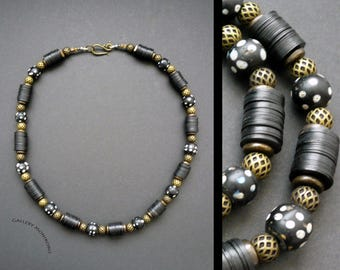 Necklace:  Old African Trade Beads combined with Vintage Brass Beads