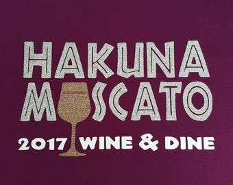 Hakuna Moscato 2017 Wine & Dine plum wine colored running tech tank with glitter design - wicking material