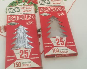 Vintage Icicles Silver Christmas Tinsel Decoration in Original Boxes Set of 2
