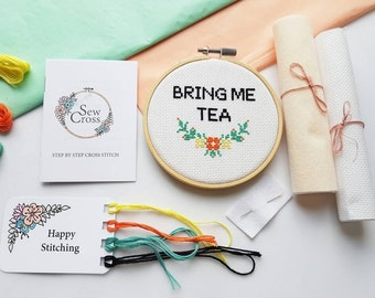 Bring Me Tea Cross Stitch Kit - Tea Gift - Tea - Cross Stitch - Embroidery Kit - Tea Lover Gift - Tea Time - Modern Cross Stitch - UK