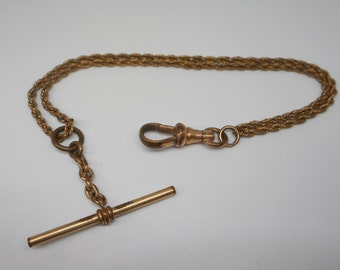 Antique Victorian Double Rope Pocket Watch Chain fob Gold Filled