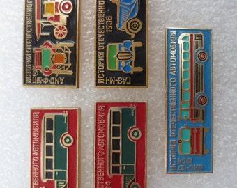 Soviet cars badges, Badges, Soviet label pins, Pin, USSR, Vintage, Symbol of the cars, Auto symbol, Bus, classic car, Retro auto, old bus