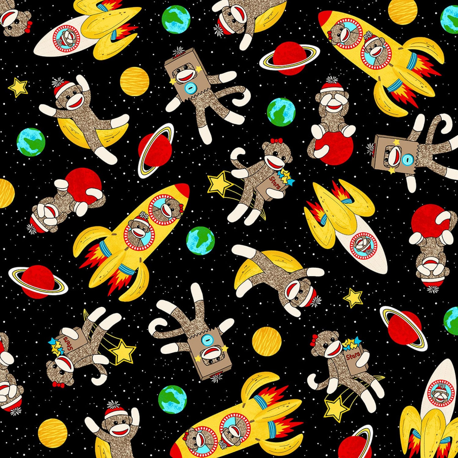 Space sock monkeys cotton fabric from spoolmonkey on etsy for Space cotton fabric