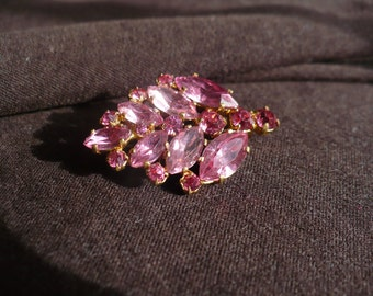 Vintage CZECHO Leaf-Shaped Brooch, Sparkly Faceted Pink Glass