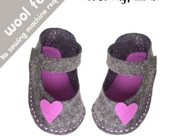 PDF sewing patterns for children / felt patterns, felt shoes, felt kids patterns, felt children patterns, felt baby shoes, felt easy sewing