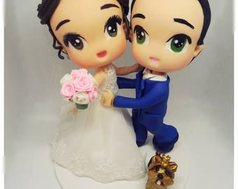 Bride and groom chibi with pet