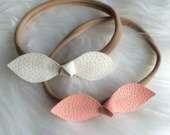 Nylon baby-toddler headband pink and white