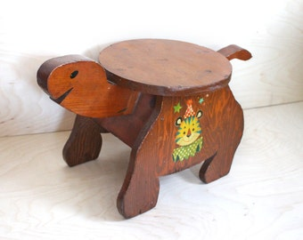 Vintage 1960's Hand Made Wood Turtle Shaped Children's Step Stool