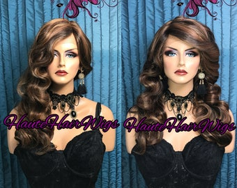 MultiTone Streaked Blonde Finger Wave Human Hair Blend Swiss Lace Front Wig - Miss Truffle Lake