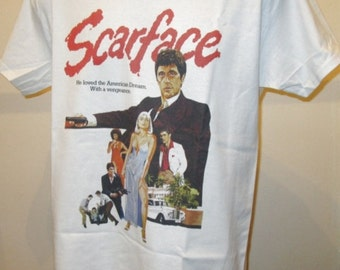 Scarface : Classic 80s Gangster Film Poster T Shirt - Retro Movie Apparel Graphic Tee Men & Women 197