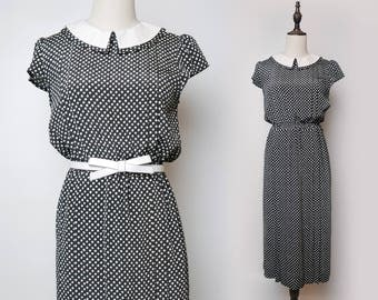 Black Women Vintage Dress White Polka Dot Pleated Peter Pan Collar Short Doll Sleeves 1980s Size M