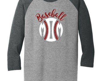 Baseball Mom Glitter Raglan 3/4 sleeve tee
