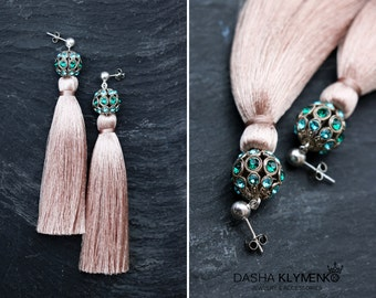 Rose tassel earrings silk tassel earrings with swarovski gift for women long dangles tassel statement earrings bridal jewelry ivory