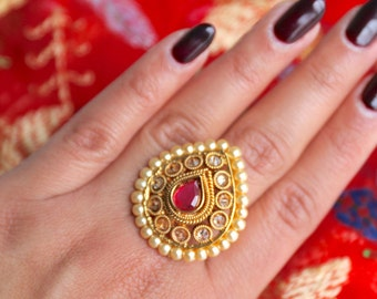 Antique Gold Ring with Ruby Stone and Pearl Border - Indian Jewelry, Indian Ring, Indian Wedding Jewelry, Gold Ring for Wedding, Ruby Ring