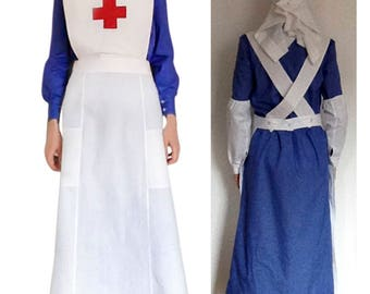 VAD Red Cross Nurse Uniform Style  WW1 WWI Historical Costume dress Apron oversleeves headscarf/veil/headgear sizes 4-28