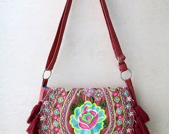 Embroidered Maroon Tassel Cross-body