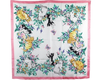 Vintage  Scarf, 1980s Vintage Scarf, Vintage Avon Scarf, Enchanted Garden, Cat, Cat Scarf, Pink, White, Kitty, Made in Italy