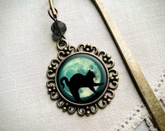 Black Cat brass book hook bookmark with dangling glass cabochon accent