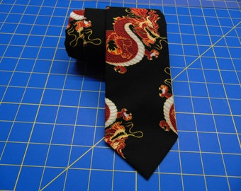 Dragon Necktie, Dragon Tie, Black Necktie, Black Tie, Mens Necktie, Mens Tie, Red Dragon, Father, Dad, Christmas, Gift, Wedding, Japanese