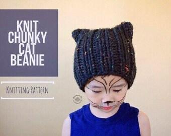 Knit Chunky Cat Beanie PATTERN | Knit Pattern | Knit Cat Pattern | Knit Hat Pattern | Instant Download Pattern