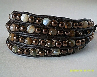 JORDON NITE Coffee Stripe Agate and Metallic Copper Wrap Bracelet