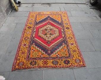Vintage rug,Area rug,boho rug,pastel color rug,69 x 45 inches,floor rug,living room rug,turkish oushak rug,hand made Turkish rug,peerless !!