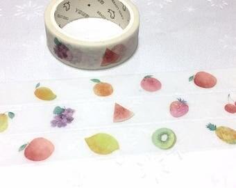 Fruit washi tape 7M apple strawberry lemon kiwi grapes orange mango watermelon cherry pineapple sticker tape fruit theme party decor