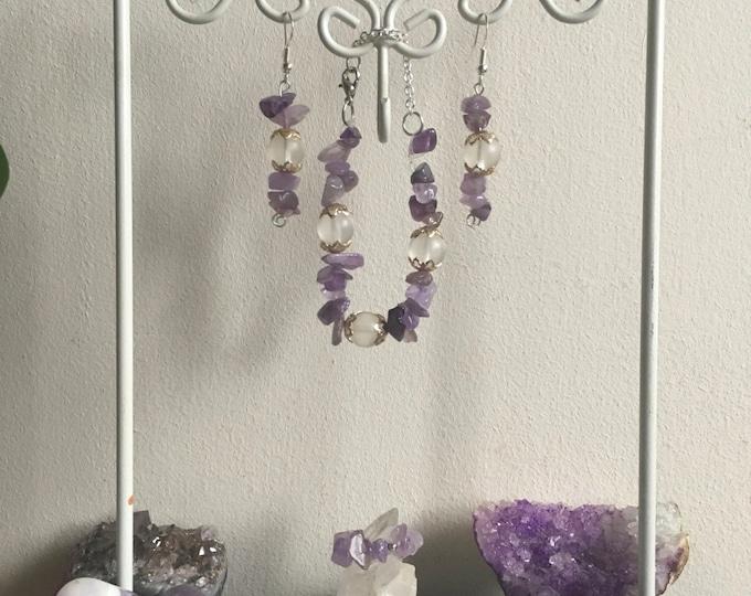 Amethyst jewellery set- Ring, Bracelet and Earrings