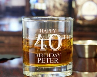 2pcs - Happy Birthday Personalized Rocks Glasses  - Engraved Whiskey Glasses - FJM5714378-15