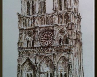 Ink vintage drawing - Notre Dames Cathedral - gothic architecture- washed ink -original drawing signed by the author