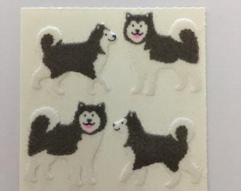 Vintage Fuzzy Sandylion Husky Dog Sticker