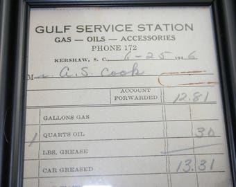 Gulf Service Station Receipt - 1946 - Souvenir Petrolianna  - Paper Ephemera