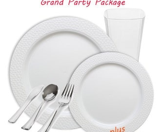 Hammered GRAND White and White Wedding Package