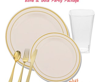 Ivory with Gold Edge VALUE Party Package for 10 guests