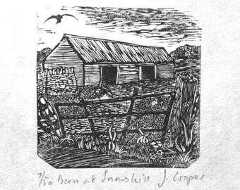 Barn at Snowshill, print of old barn, wood engraving, relief print, small landscape print, cotswold print
