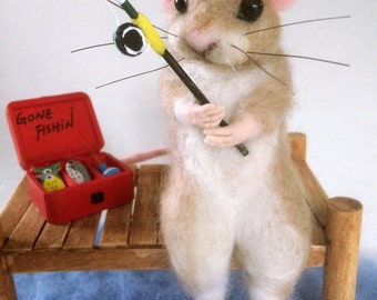 Gone Fishing! Needle Felted Mouse Artist Doll