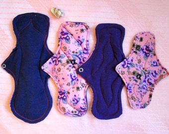 Cloth pads bundle~ Starter set of 4 pads~ 1 overnight pad + 1 Large pad + 1 Medium pad + 1 Pantyliner~ washable, reusable, eco friendly!